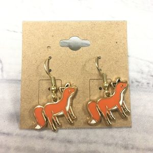 Gold  plated fox earrings